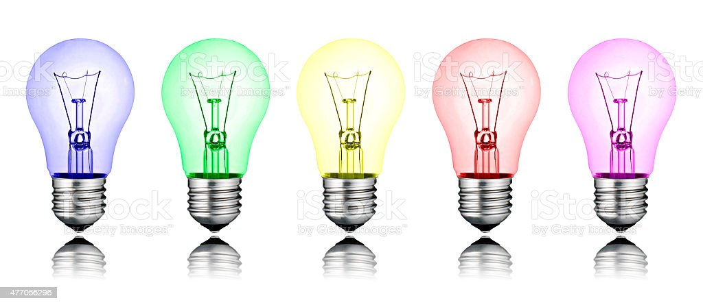 Different New Ideas - Row of Colored Lightbulbs Isolated stock photo