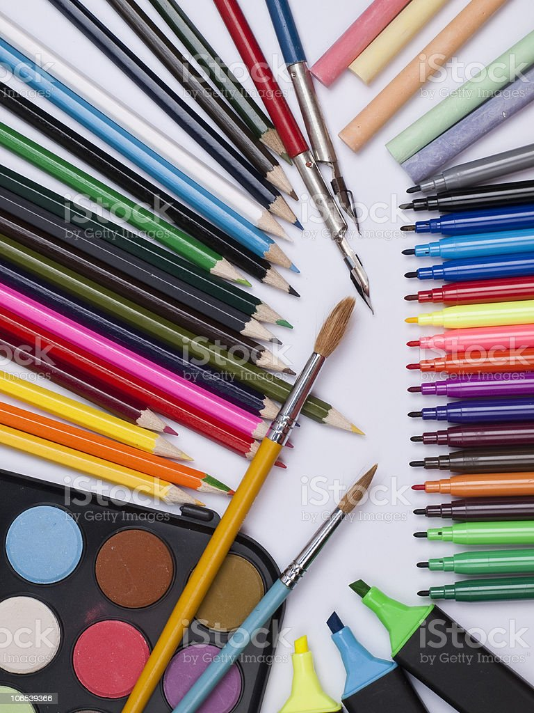 different objects for drawing stock photo
