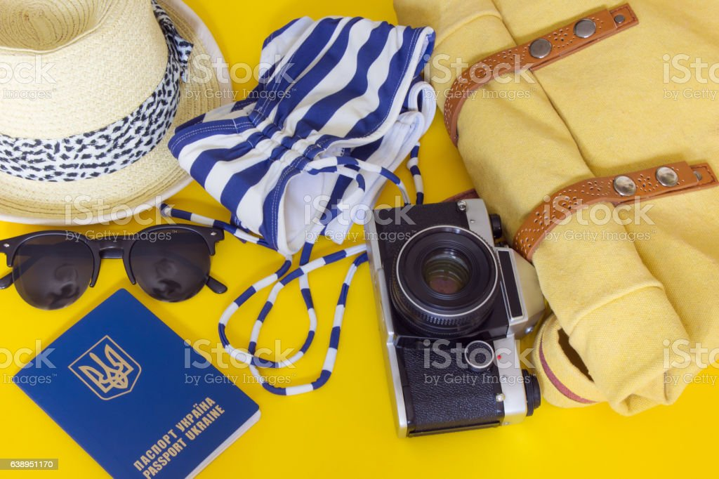 Different objects for traveling stock photo