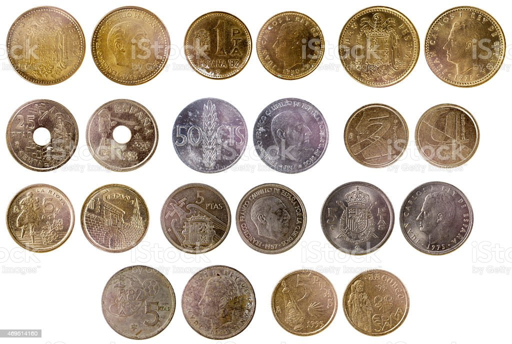 different old spanish coins stock photo