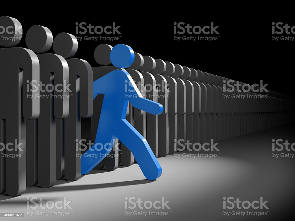 Different people. Run to new opportunities vector art illustration