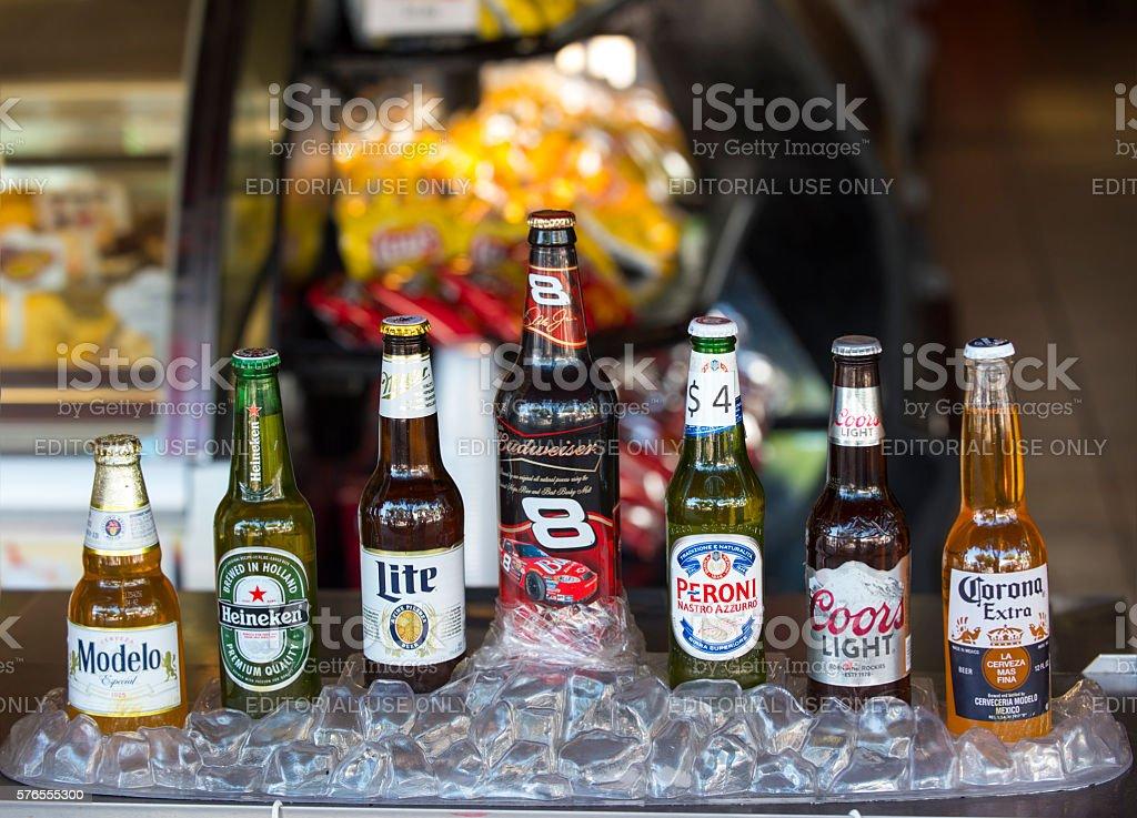 Different popular beers stock photo