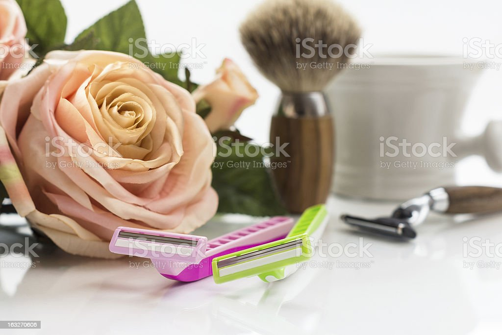 different razors for men and women stock photo