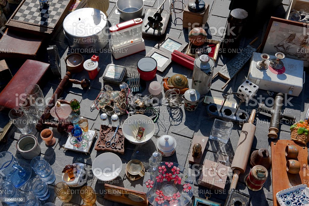 Different retro household items at flea market in Bordeaux stock photo