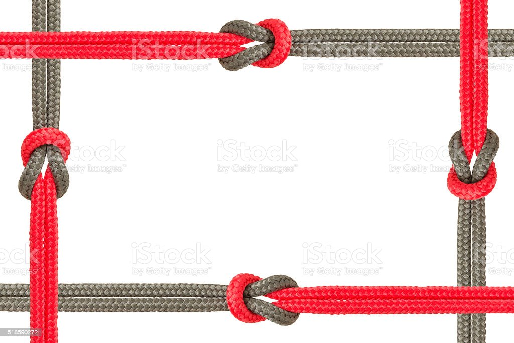 Different ropes tied  isolate on white background stock photo