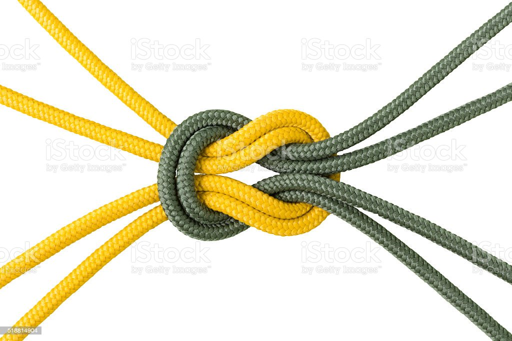 Different ropes tied  isolate on white with clipping path stock photo