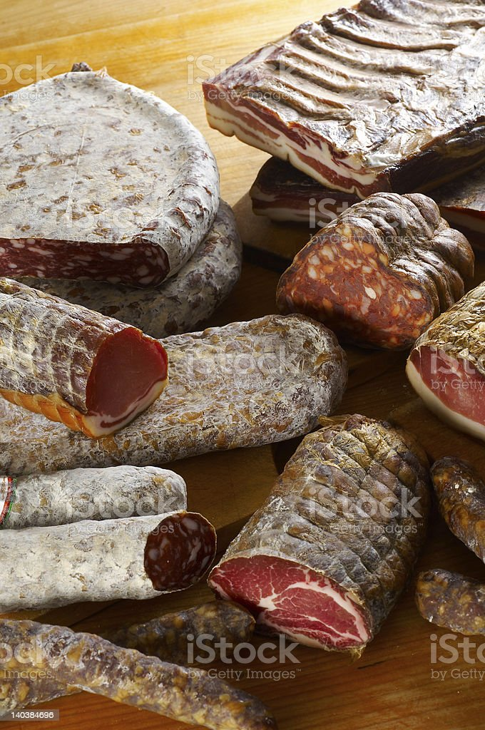 Different salami products royalty-free stock photo