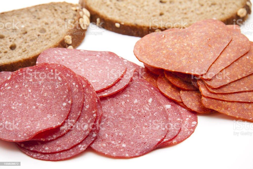 Different salamis stock photo