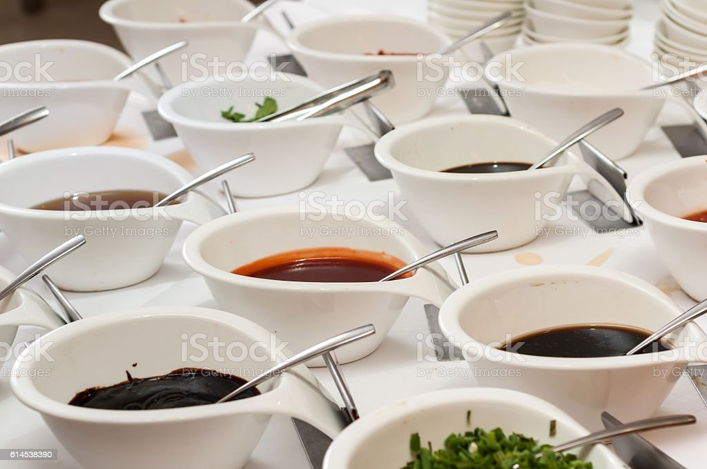 different sauces stock photo
