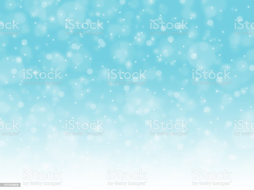 Different shapes of falling snow flakes stock photo