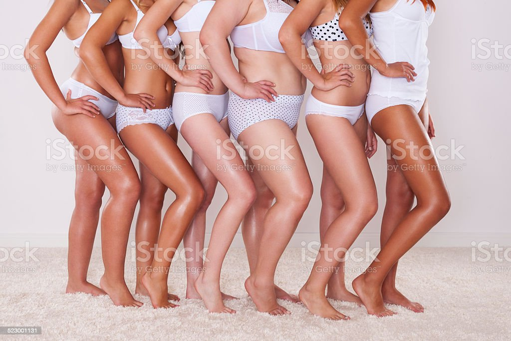 Different silhouette of young women stock photo