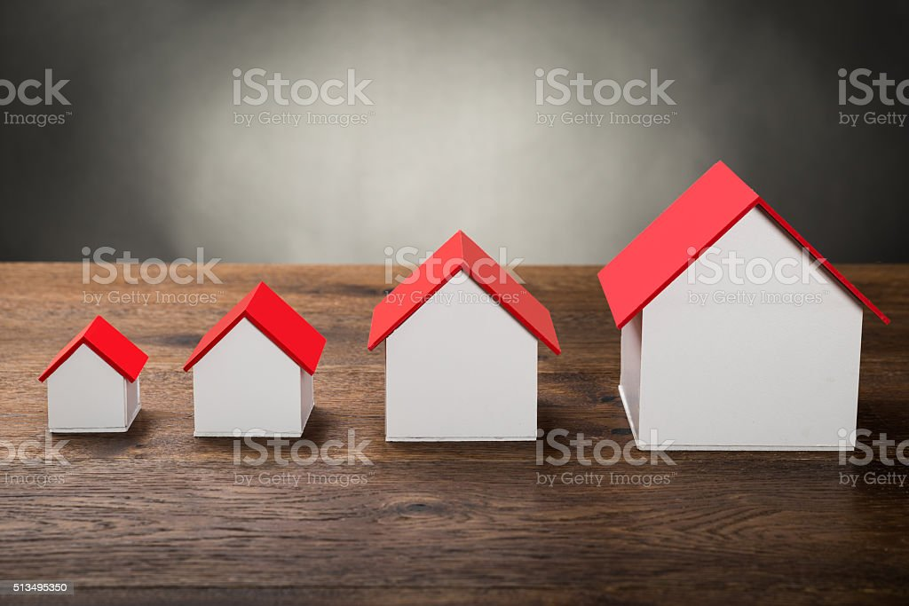 Different Size Houses stock photo