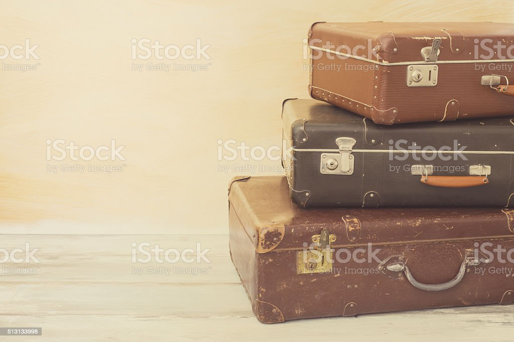 Different size suitcases for traveling stock photo