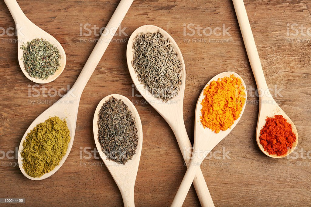 Different size wooden spoons with a variety of spices royalty-free stock photo