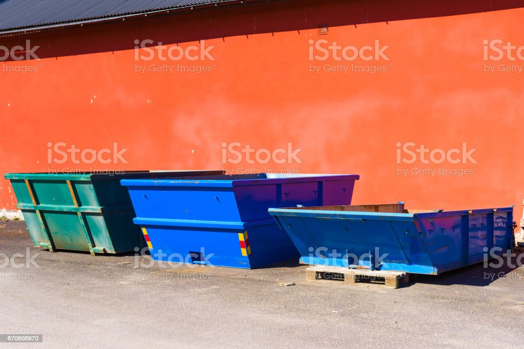 Different sized containers stock photo
