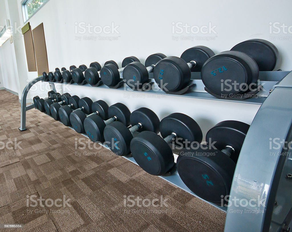 Different sizes and weights dumbbells on stand in modern gym stock photo