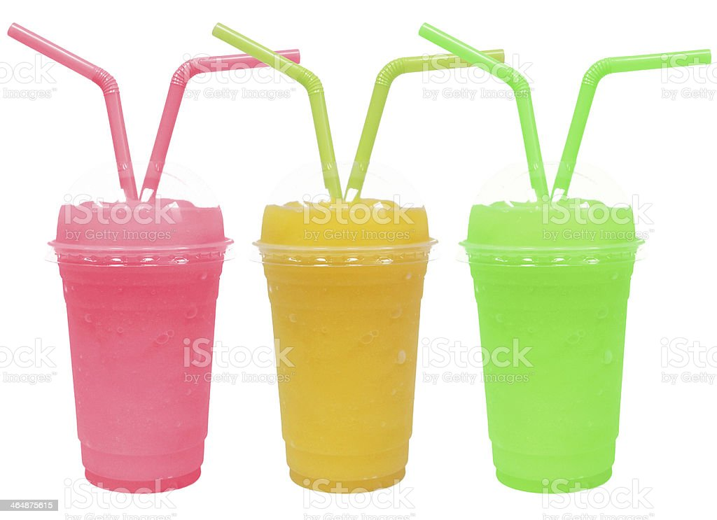 different smoothie with fruits  on white background stock photo