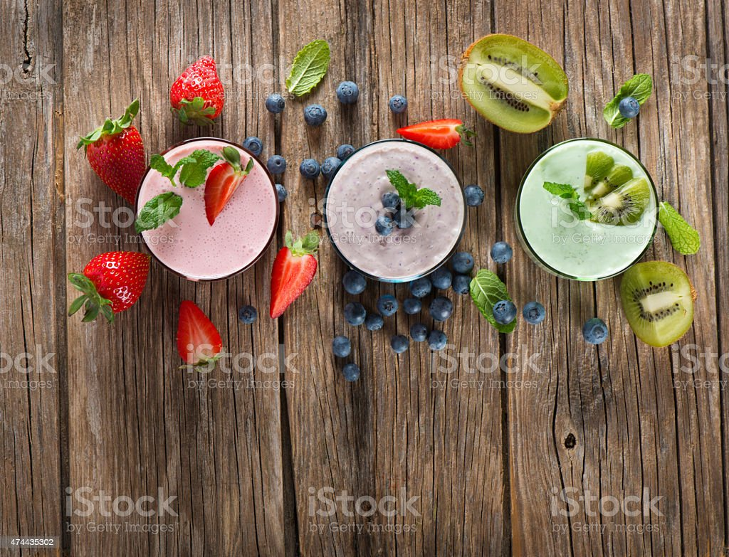 Different  smoothies, view from above stock photo
