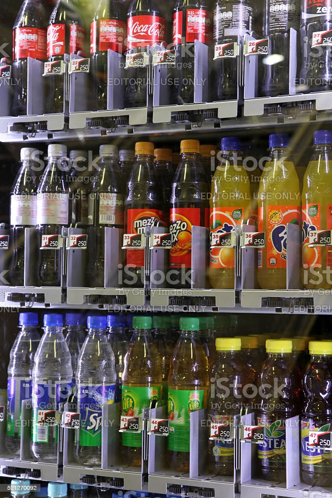 Different soft drink bottles stock photo