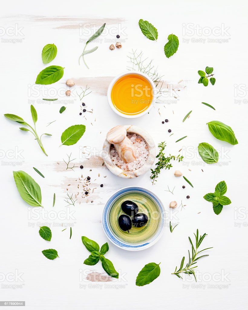 Different sorts of cooking oils. Olive oil flavored ,spice oils stock photo