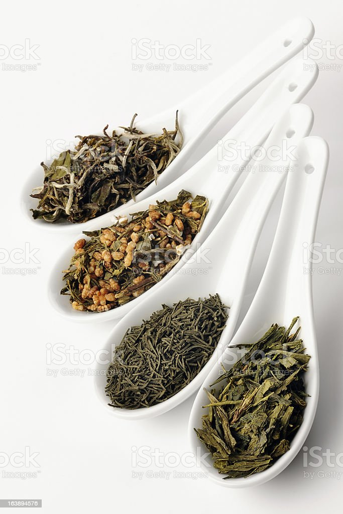 Different sorts of green tea stock photo