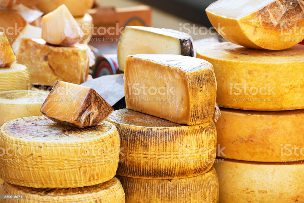 Different sorts of italian cheese stock photo