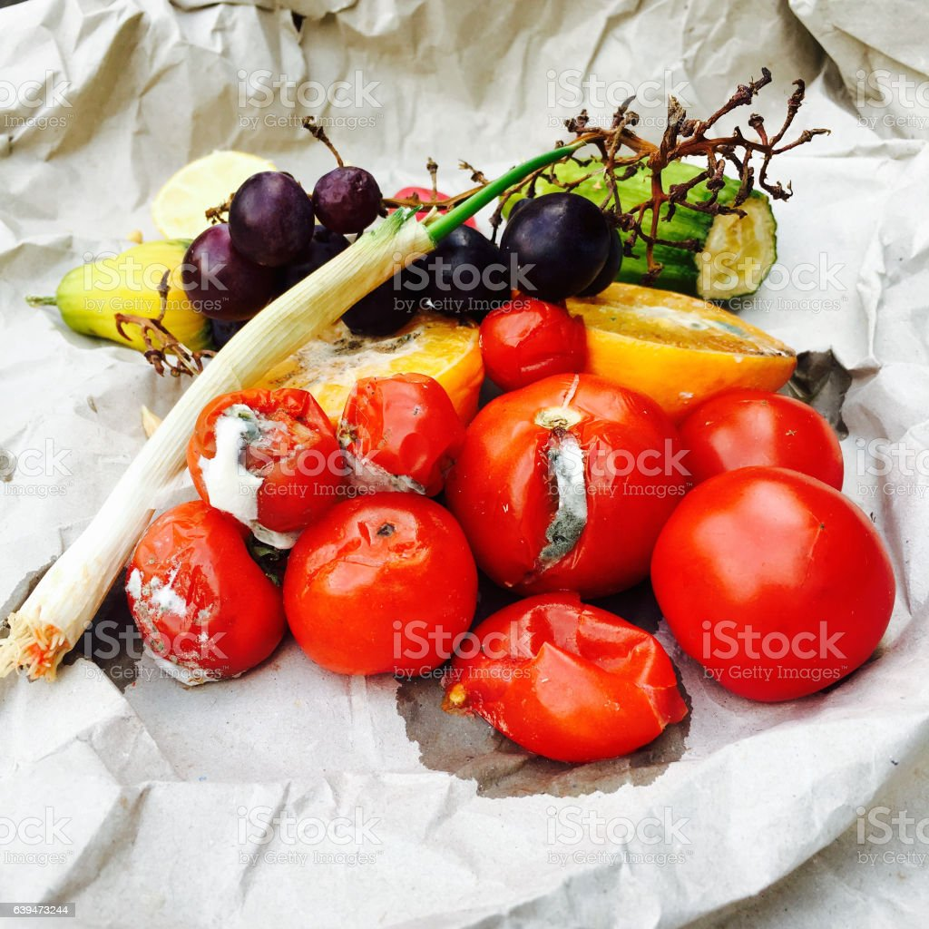 Different sorts of rotten fruits and vegetables stock photo