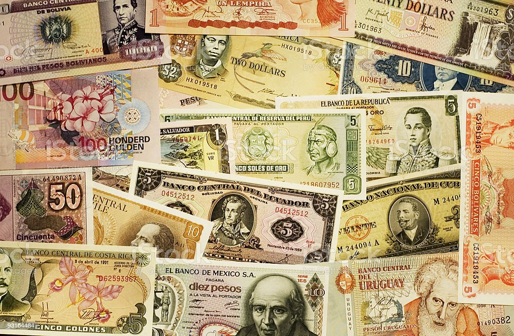 Different south-american bills royalty-free stock photo