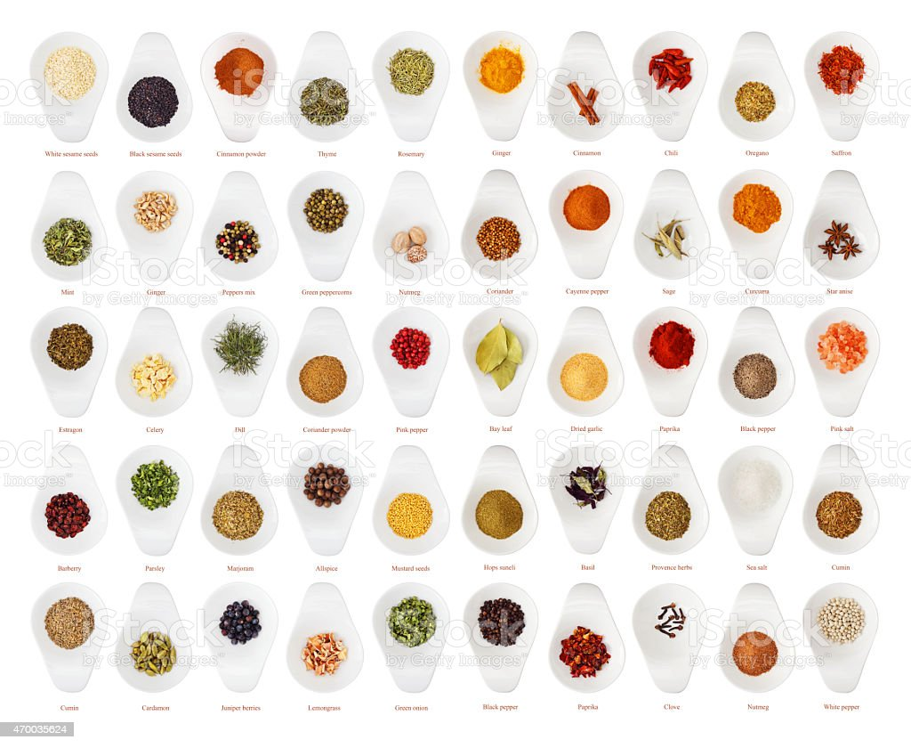 Different spices in ceramic cup stock photo