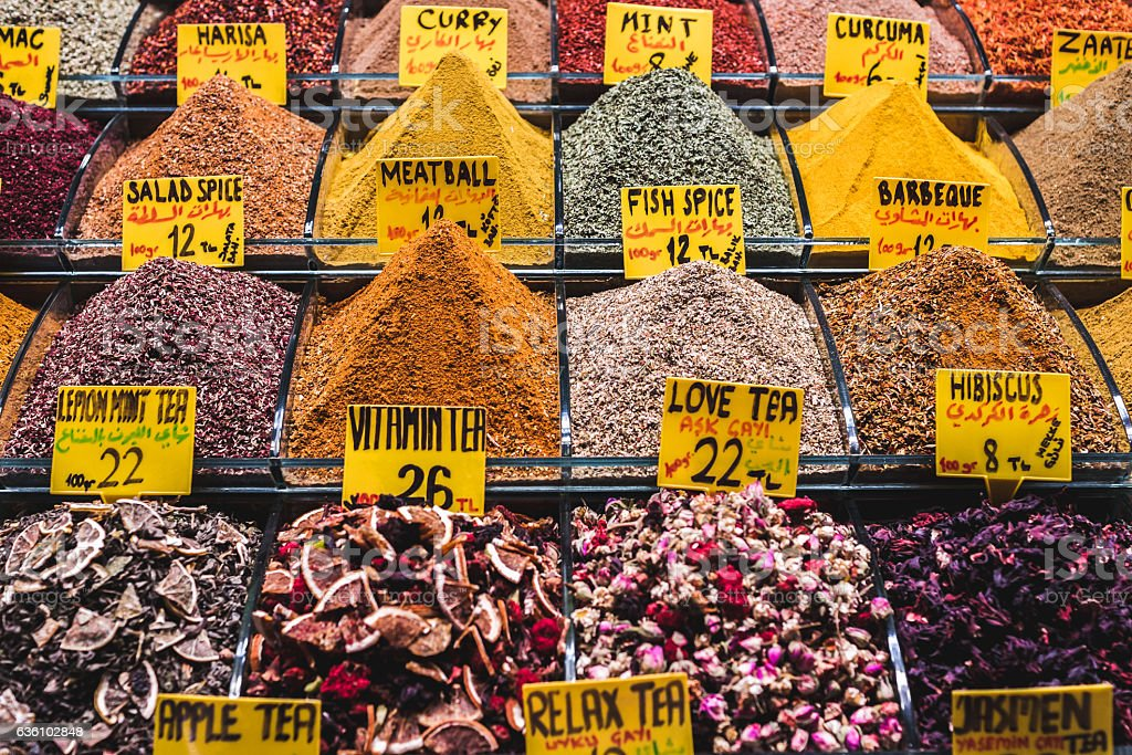 Different spices on a market  Grand Bazaar in Istanbul stock photo