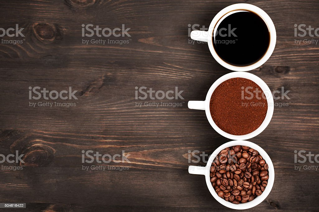 Different stages of preparing coffee stock photo