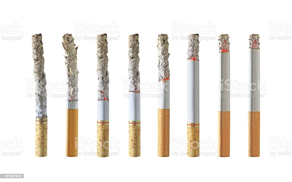 Different stages of smoking cigarette,Super size royalty-free stock photo