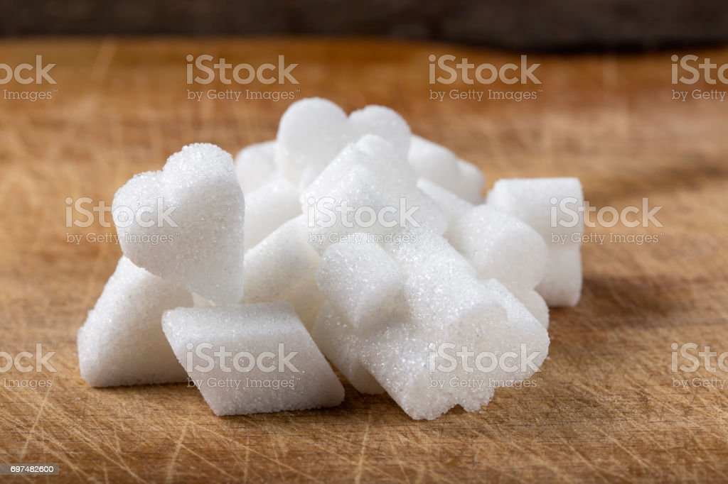 Different sugar shapes of cubes stock photo