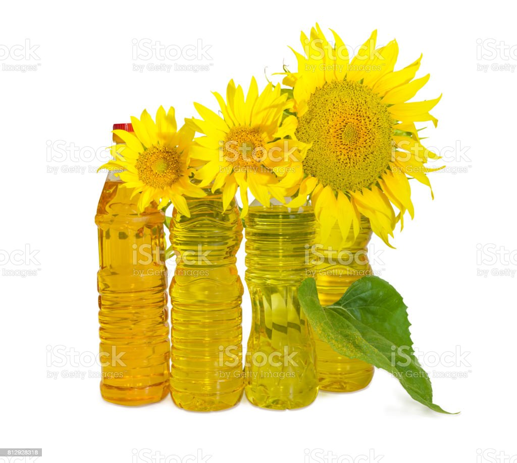 Different sunflower oil and flowers of sunflower stock photo