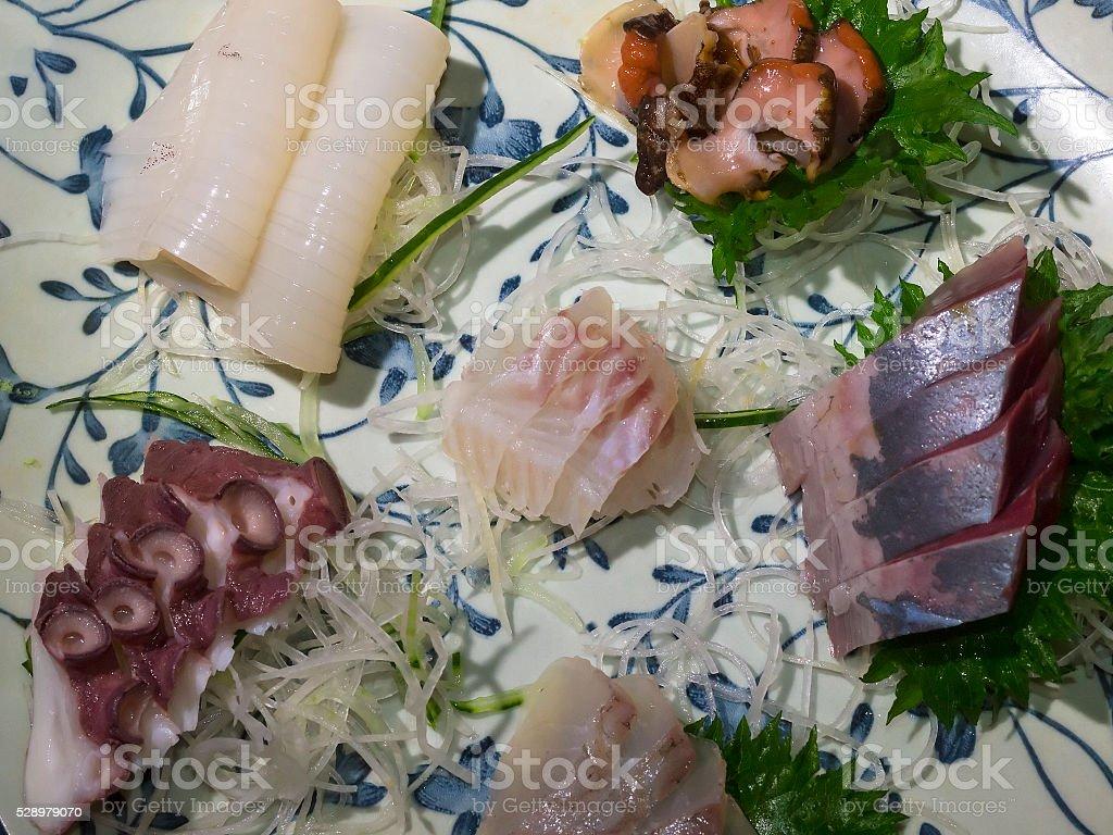 Different Sushi on plate at  Ryotsu restaurant, Japan stock photo