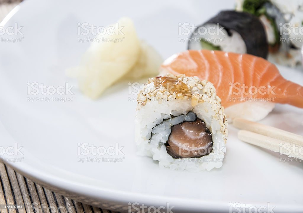 Different Sushi Rolls on a plate royalty-free stock photo