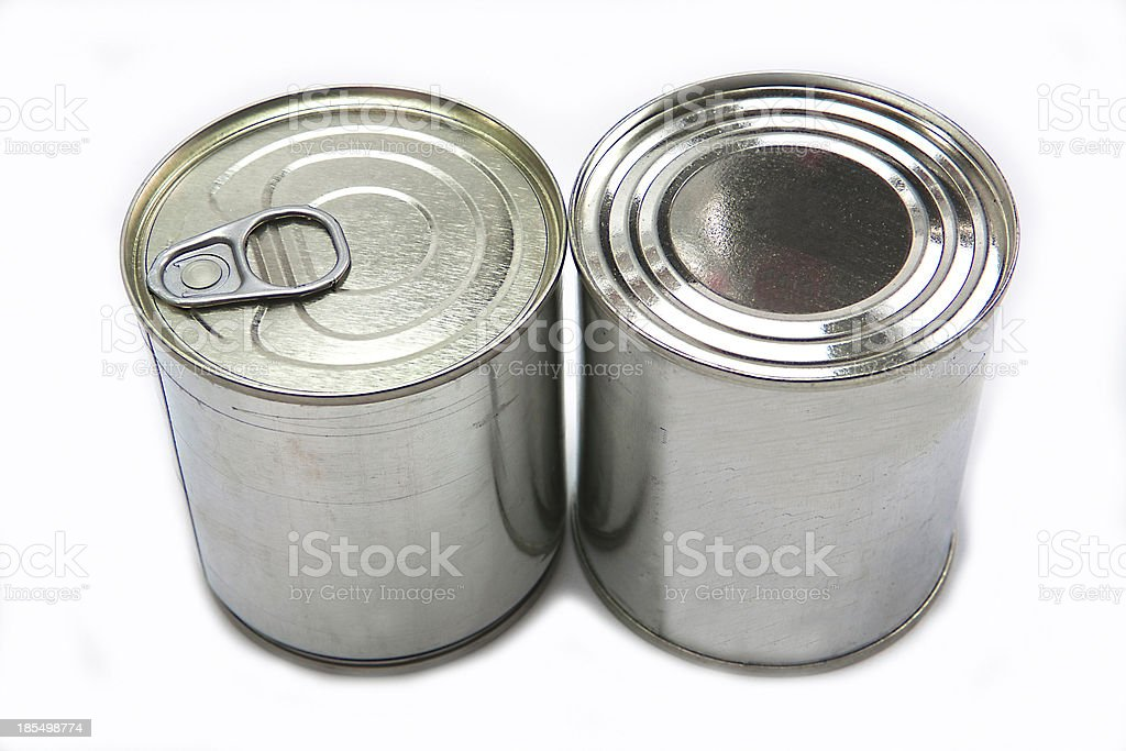 different tin cans isolated on white royalty-free stock photo