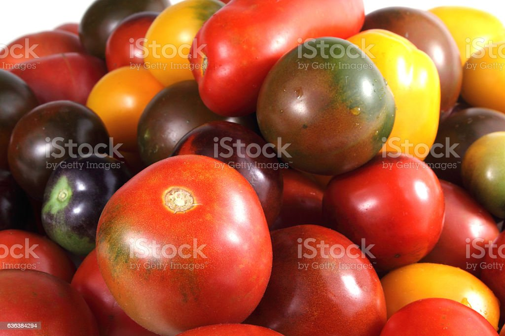 Different tomatoes stock photo