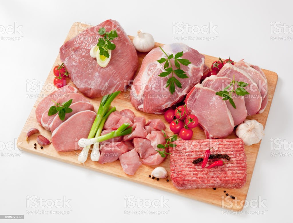 Different type of raw meat on a chopping board, garnished stock photo
