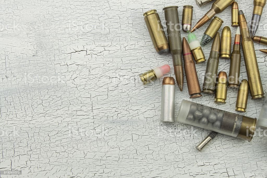 Different types of ammunition. The right to own a gun stock photo