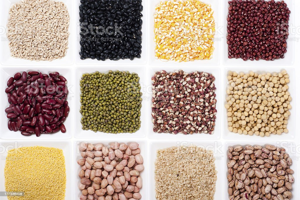 Different types of beans in plate royalty-free stock photo