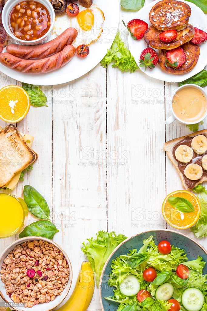 Different types of breakfast background stock photo