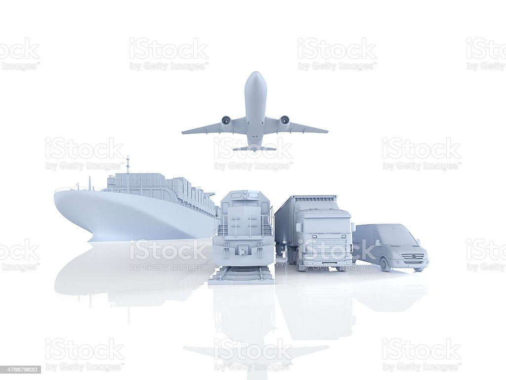 different types of cargo. 3d rendering stock photo