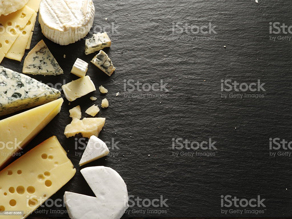 Different types of cheeses. stock photo