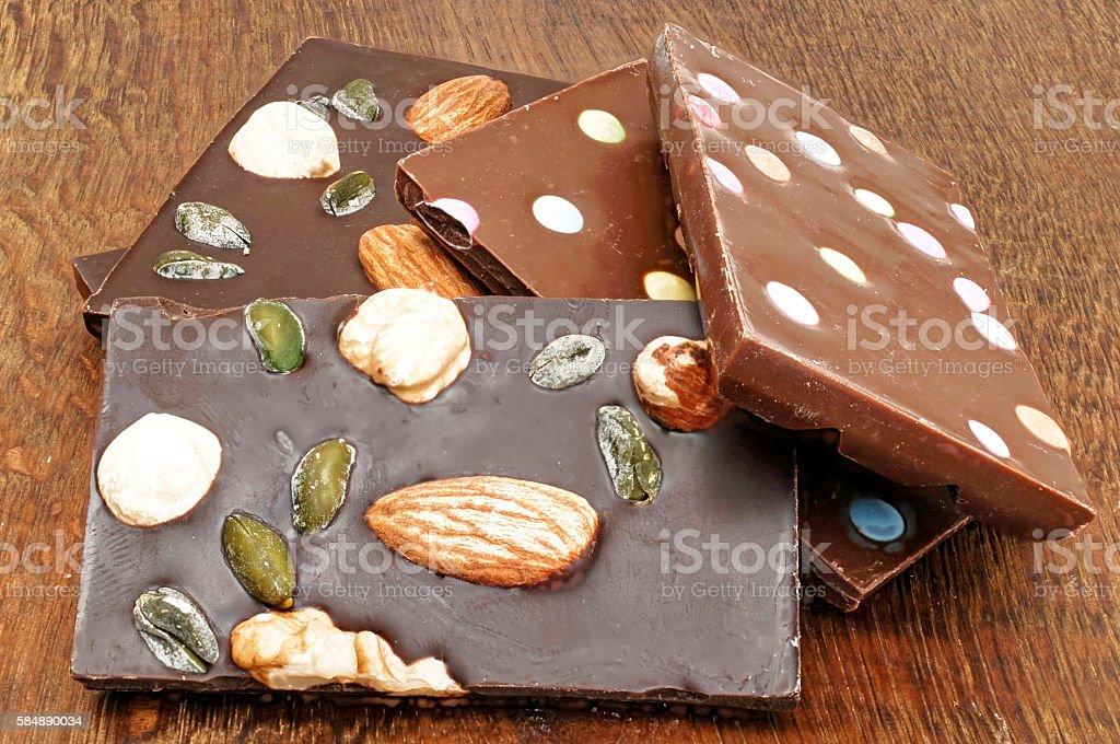 Different types of chocolate stock photo