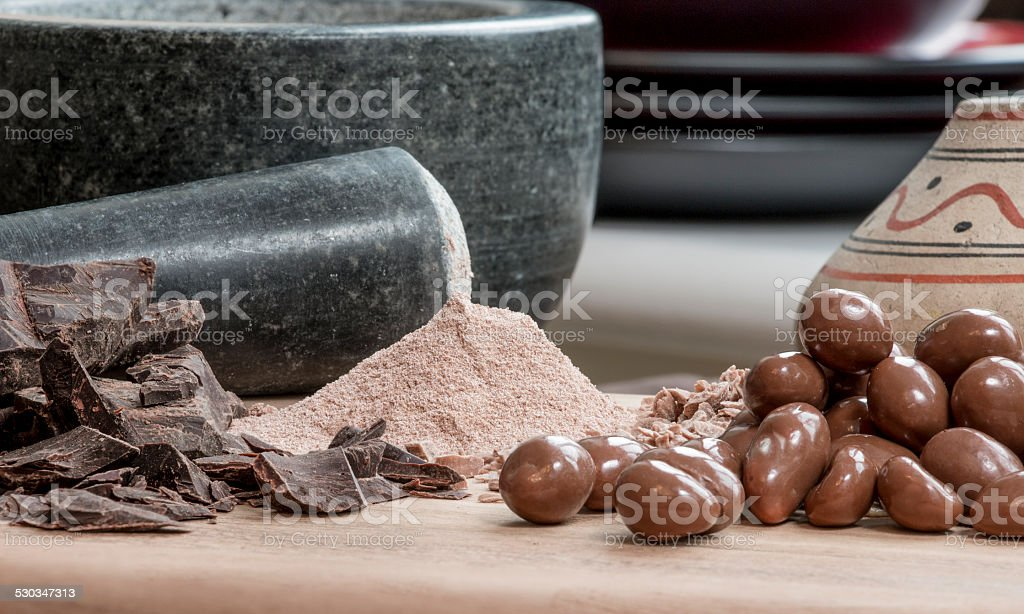 Different types of Chocolate with Aztec jar stock photo