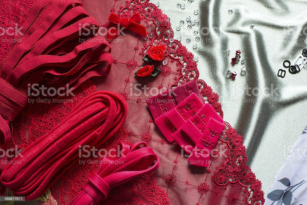 Different types of cloth, textiles for making bras royalty-free stock photo
