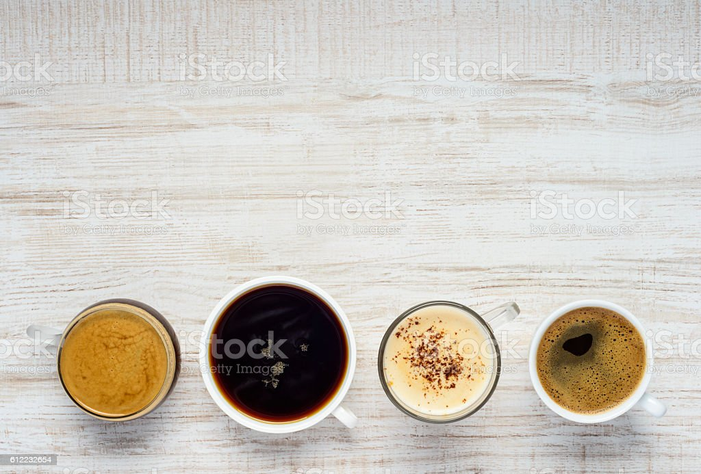 Different Types of Coffee with Copy Space stock photo
