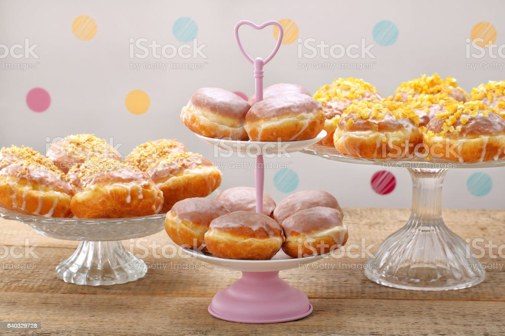 Different types of donuts cakes on Fat Thursday stock photo
