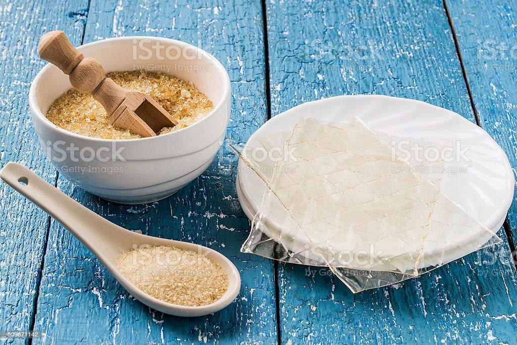 Different types of gelatin stock photo